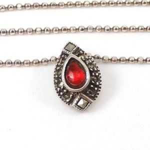 Sterling Silver Glass Marcasite Pendant Necklace